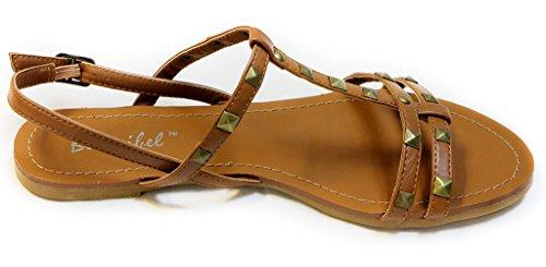 Bonnibel Eko-1 Donna Open Toe Decorazione Rockstud Cinturino Alla Caviglia Cinturino Alla Caviglia Cinturino Alla Caviglia Sandali Tan