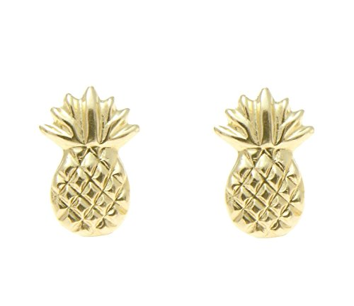 - 14K solid yellow gold Hawaiian 7mm pineapple stud post earrings