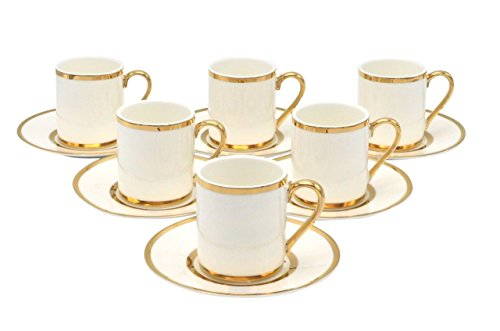 (Porcelain Bone China Espresso Turkish Coffee Demitasse Set of 6 Cups + Saucer with Gold Band Borders)