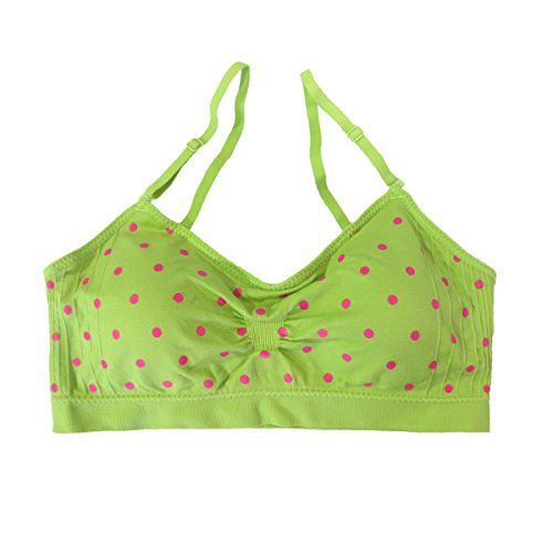 (Coobie Seamless Scoopneck Bra,Lime Green/Hot Pink Polka Dot,One Size)