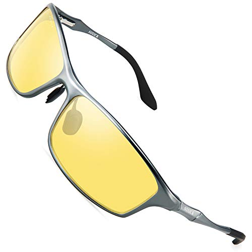 Night Vision Glasses For Driving,Polarized Sunglasses Anti Glare Safe HD Night Driving - Yellow Shade Light Glass