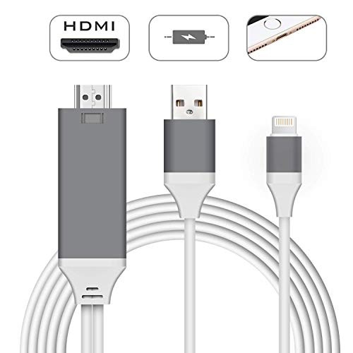 Compatible with iPhone iPad to HDMI Adapter Cable, Demeri 6.6ft Digital AV Adapter Cord Support 1080P HDTV Compatible with iPhone Xs MAX XR X 8 7 6s Plus iPad to TV Projector Monitor
