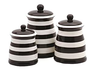 Terramoto Ceramic Stripes 3-Piece Canister Set, Black