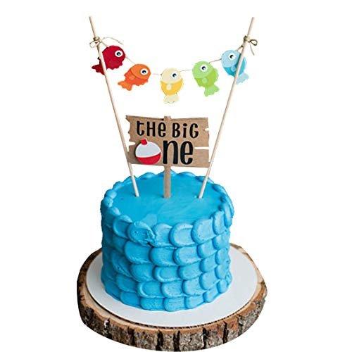 The Big One Cake Topper | The Big One Birthday Theme Fishing | Gone Fishing Cake Toppers Ofishally One 1st Birthday Little Fisherman Party Supplies Decorations ()