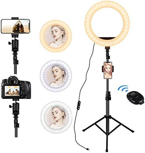"Ring Light with Stand & 12"" Selfie Ring Light, 3 Phone Holders, 30 Dimmable Ring Lamp, LED Ring Light for Live Streaming/Video/Vlog/Makeup/YouTube/TIKTok in Photography, Compatible with Smart Phone"
