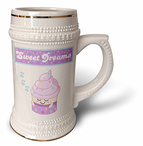 InspirationzStore Cute Food - Sleeping cupcake - cute sweet dreams pink girly cupcakes stars design bedroom nursery pajama party - 22oz Stein Mug (stn_113116_1)