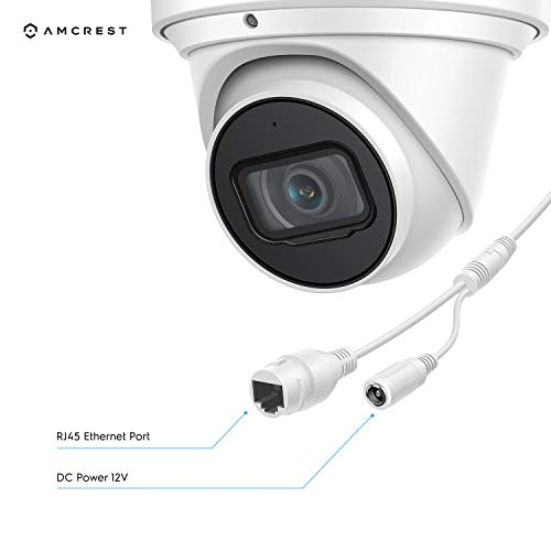 Amcrest UltraHD 4K (8MP) Outdoor Security IP Turret PoE Camera, 3840x2160, 98ft NightVision, 2.8mm Lens, IP67 Weatherproof, MicroSD Recording (256GB), White