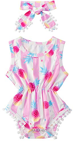 BFUSTYLE Baby-Girls Sleeveless Bright Pink White Stripes Blue Red Yellow Pineapple Star Print Vacation Beach Onesie Sunsuit 2 -