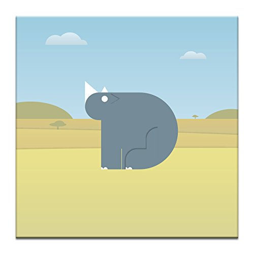 Artist Lane 02AT - P2641 Ross The Rhino Canvas Artwork by Alex Turnbull, 12 by 12 by 1.5-Inch