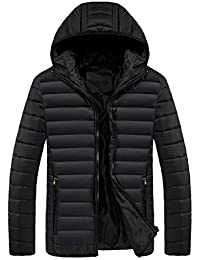 Men's Lightweight Winter Puffer Down Coats Jacket with Hood(Need to Plus one Size)
