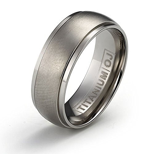 7mm Titanium Ring Wedding Band Brushed Center Polished Edge Comfort Fit SZ 6-12 Free Engraving Service