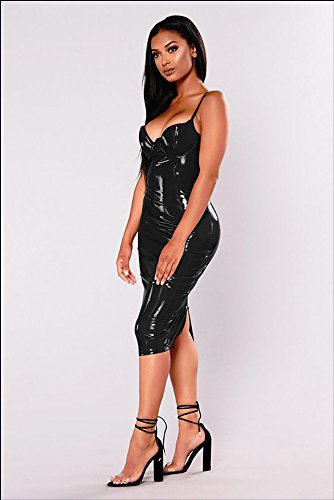 Brillant Sexy Look Sans Femmes Black Manches Myf Catsuit Robe Cuir Pvc Wet vqw5xwIHt
