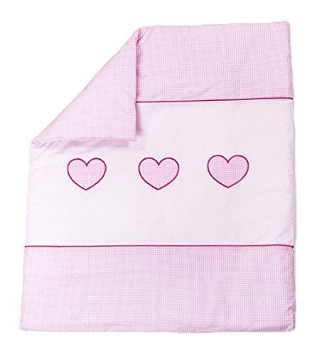Quilt with Embroidered Heart/Duvet Filling Suitable for Crib/Pram - PINK BabyComfort