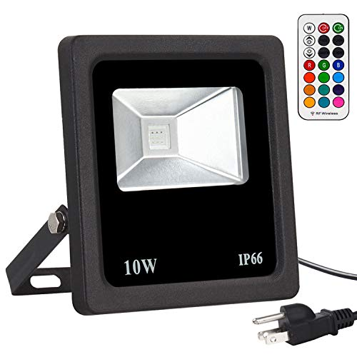 10W LED RGB Lights, Security Lights Color Changing with Remote Control, 16 Colors & 4 Modes Dimmable Lights for Party Stage Lighting, Christmas Decorations, Garden Lights, IP66 Waterproof, US 3-Plug]()