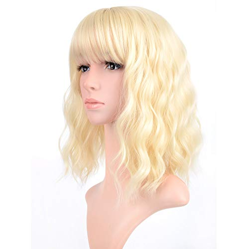 VCKOVCKO Blonde Pastel Wavy Wig With Air Bangs Women Short Wavy Light Blonde Wigs Synthetic Wig for Cosplay Party Bob Style Pastel Bob Synthetic Cosplay Wig for Girl(12