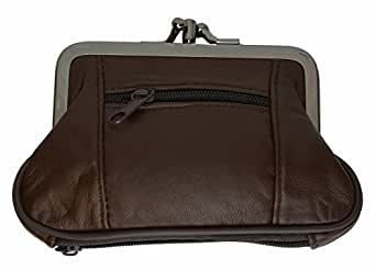 Marshal Womens Leather Kiss Lock Coin Purse (Brown)