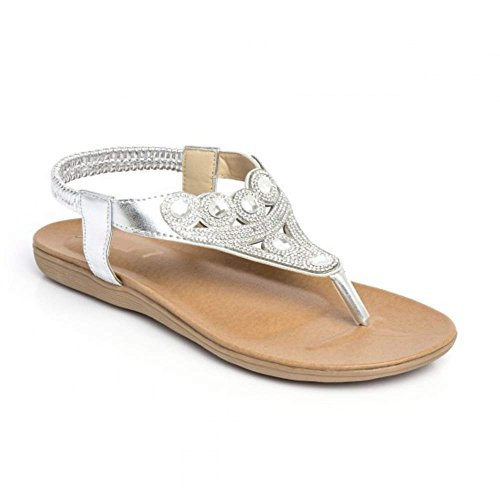 Sandals Back Women's Summer Sling New Strap Shoes Ankle Silver2 Diamante Stunning Flat wS4RTqFf