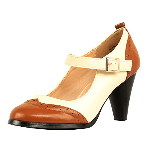 Chase & Chloe Dora-2 Women's Round Toe Two Tone Mary Jane Pumps (7, Tan/White)