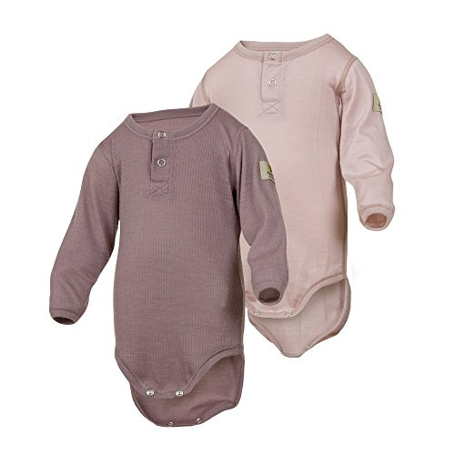 Janus 2-Pack 100% Merino Wool Baby Bodysuit Long Sleeve. Machine Washable. Made In Norway. (Pink (2-Pack), 50 (0-4 Months)) Wash Wool Clothes