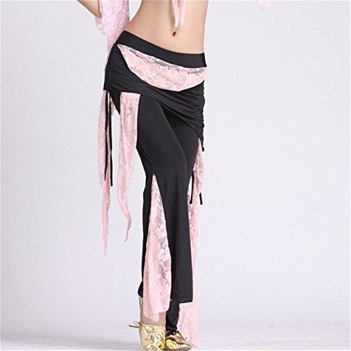 mujeres Lace Falda Pantalón Culottes Pantalones elásticos Lado Abertura Ropa de baile Baile Paño Light Pink