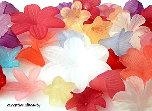 20 Assorted Frosted Flowers Lucite Flower Tulip Components Focal Beads