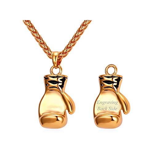U7 Men Steel Chain Boxing Glove Pendant Necklace Cool Men Boys Sport Jewelry Stainless Necklace ((Personalized) Gold Color, Small Version)