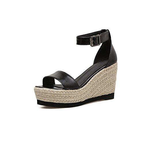 para Gruesa Sra Zapatos de ZHZNVX Femenina Verano Impermeable 39 Negro y Tacón Sandalias Alto ranurados Primavera con La Pendiente los Paja Taiwán 6qaqw5rP
