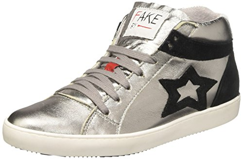 Fake By Chiodo Women's Mid 097 Hi-Top Trainers Silver (Laminato Argento/Crosta Nero Laminato Argento/Crosta Nero) discount perfect yHpdO