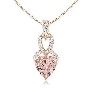 Angara Trillion Morganite Dangle Pendant with Diamond Accents JQyoAMmyc