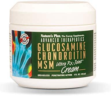 NaturesPlus Advanced Therapeutics Glucosamine Chondroitin MSM Ultra Rx-Joint Cream - 4 oz Jar - High Potency Joint Support Cream - Greaseless - Penetrating Action