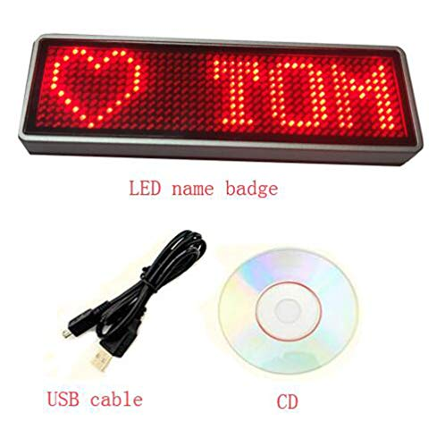 - Scrolling Name Tag LED Moving Message Sign Business Card badgesProgramming Display
