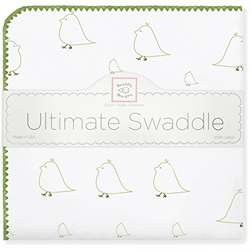 SwaddleDesigns Ultimate Swaddle, X-Large Receiving Blanket, Made in USA Premium Cotton Flannel, Kiwi Mama and Baby Chickies (Moms Choice Award Winner)