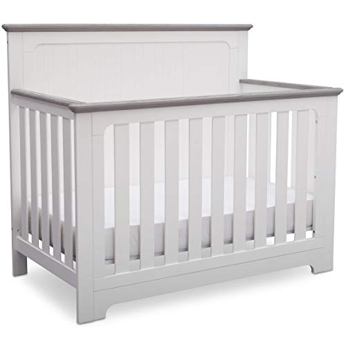 Delta Children Providence 4-in-1 Convertible Baby Crib, Bianca White with Rustic Haze (White 4 In 1 Baby Crib)