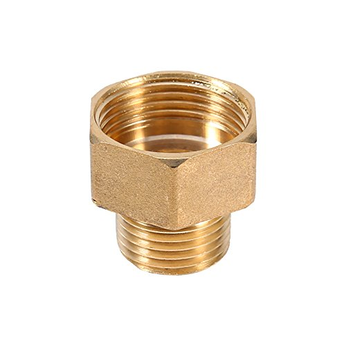 Rigid Reducer Bushing - 1 Pc Brass Water Pipe Hex Bushing Reducer Adapter 1/2BSPT Male and 3/4BSPT Female Thread
