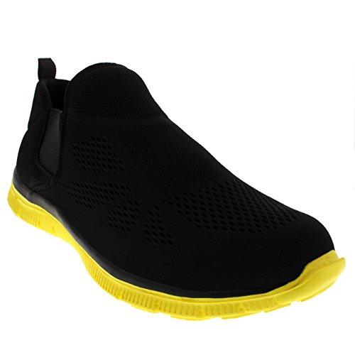 Mens Elastisk Löpning Walking Sport Lättvikts Gym Mesh Atletisk Gymnastiksko Svart / Gul