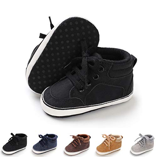 BENHERO Baby Girls Boys Canvas Shoes Toddler Infant First Walker Soft Sole High-Top Ankle Sneakers Newborn Crib Shoes (6-12 Months M US Infant), B-Black