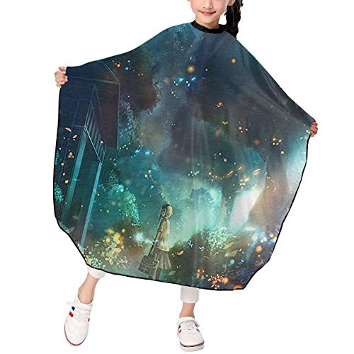 Child Children Kids Haircut Barber Cape Cover For Hair Cutting Fireflies And Girls -