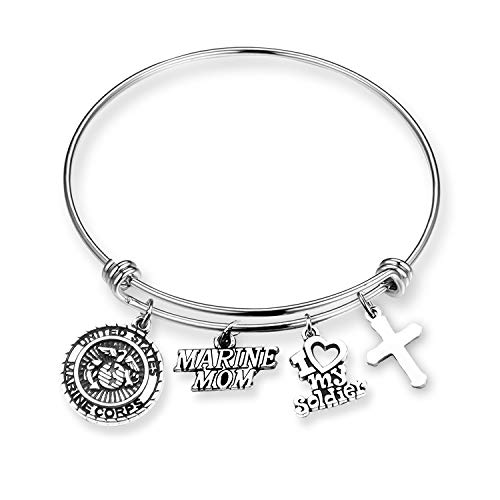 - EIGSO Military Mom Wife Girlfriend Gift Army Mom Bracelet Army Mother Jewelry Navy Marine Air Force Bracelet Long Distance Relationship Gifts for Women (Marine mom BR)