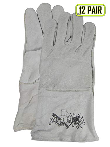 Magid Glove & Safety T5555 Magid Weld Pro Gunn Pattern Leather Welding Gloves, Large, Gray, Large (Pack of 12)