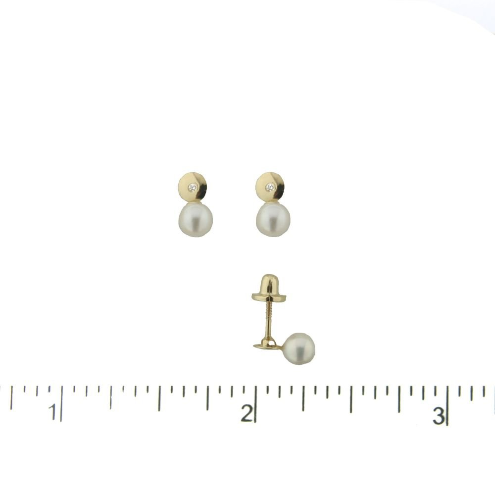 18kt yellow gold diamond circle and Cultivated Pearl covered screwback earrings