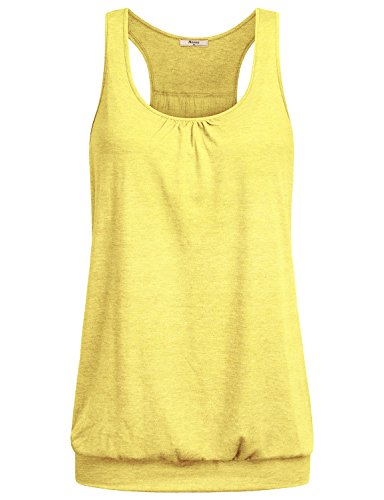 Miusey Womens Sleeveless Round Neck Loose Fit Racerback Workout Tank Top (X-Large, Yellow)