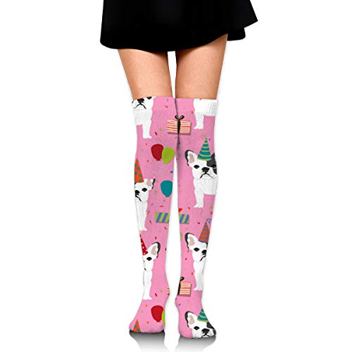Guoxichangtuiwa French Bulldog Birthday Party Women's Girl's Breathable Cotton Comfortable Fashion Over The Knee High Leg Athletic Thigh Highs Socks,Cosplay Socks]()