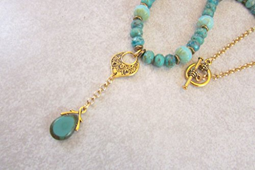 Blue Picasso Glass Round and Rondelle Bead and Czech Glass Briolette Necklace