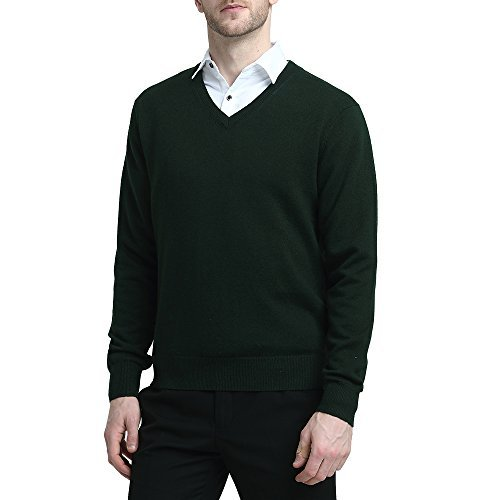 Fit Wool Blend - Kallspin Wool V Neck Pullover Sweater Black (L, Dark Green)