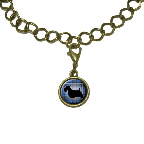(Scottie Dog on Blue Plaid Scottish Terrier Charm with Chain Bracelet)