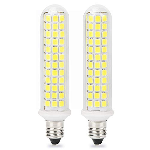 Patent Product E11 100W LED Light Bulb, 10W Dimmable E11 Base Bulbs, Mini Candelabra Base, 100W 120W Equivalent, JD T3 T4 Bulb, White 6000K, 125X2835SMD 360° Indoor Lighting (Pack of 2) (White)