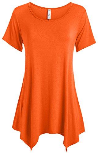 Assorted Womens Short Sleeve Shirts - Orange Tunic Tops for Leggings