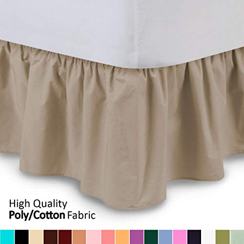 (Shop Bedding Ruffled Bed Skirt (Full, Camel) 14 Inch Drop Dust Ruffle with Platform, Wrinkle and Fade Resistant - by Harmony Lane (Available in All Bed Sizes and 16 Colors))