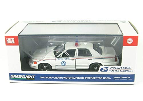 (2010 Ford Crown Victoria Postal Police United States Postal Service (USPS) White 1/43 Diecast Model Car by Greenlight 86523)