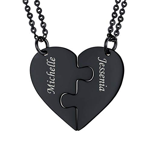 U7 BFF Necklace for 2/3/4 Stainless Steel Chain Personalized Family Love/Friendship Jewelry Set Personalized Engraving Heart Pendants (Set of 2 Black Customized)